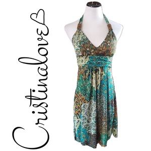 Cristinalove Multi-color paisley halter dress